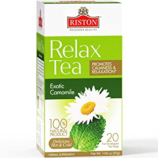 Riston Relax Tea Exotic Camomile Promotes Healthy Digestion-20 Teabags (100% Natural, Sugar Free, Gluten Free And Non-Gmo)...