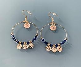 Creoli d'oro dorato con pampilles e perline lapislazzuli, gioielli da donna, creoli d'oro, gioielli in oro, gioielli regal...