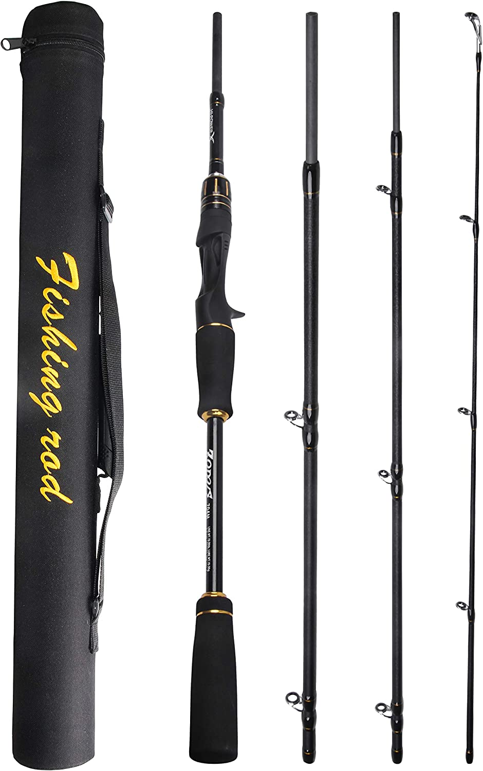 Shaddock Fishing Spinning Casting Fishing Travel Rod Lure Fishing Rod Tackle Including Carbon Fiber EVA Handle Ceramic Guide Rings in 4 Section 2.1M 2.4M