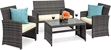 Best Choice Products 4-Piece Wicker Patio Conversation Furniture Set w/ 4 Seats, Tempered Glass Tabletop - Gray Wicker/Cream
