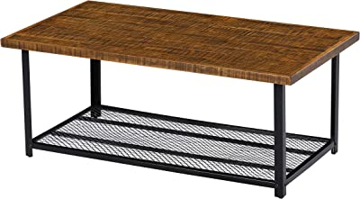 SLEEPLACE Solid Wood Storage Shelf coffee Table, Rustic Brown