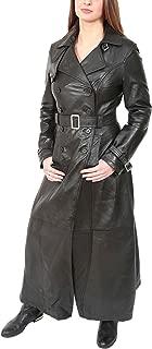 HOL Ladies Full Length Leather Reefer Coat Sharon Black