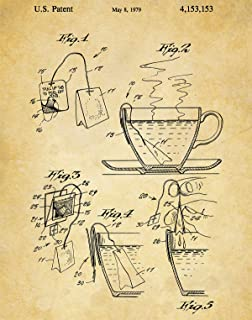 Tea Cup and Bag Patent Wall Art Print - one (11x14) Unframed - wall art decor for tea drinkers