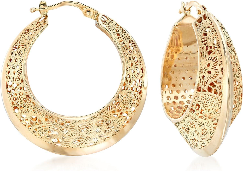 Ross-Simons Italian 14kt Yellow Gold Floral Filigree Hoop Earring