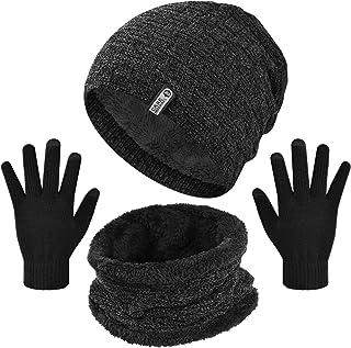 heekpek 3 Piezas Gorro Bufanda de Cuello Guantes Conjunto de Invierno de Punto para Hombre Deportes al aire libre