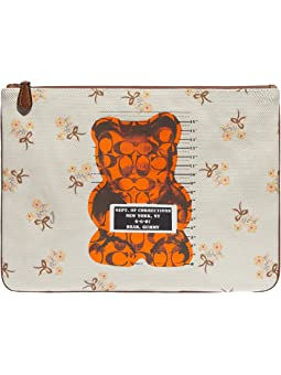 코치 베어 캔버스 리스츨릿 COACH Gummy Bear Canvas Large Wristlet 30,Chalk/Multi
