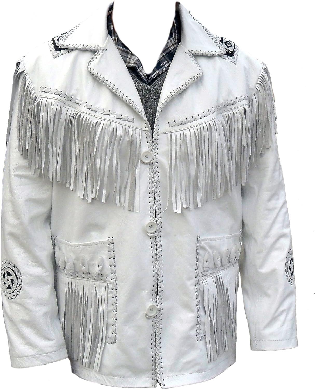 Classyak Western Cowboy Real Leather Jacket, Fringed & Beaded, Xs-5xl