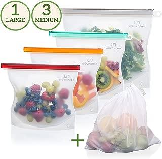 Reusable Silicone Food Storage Bag - Airtight Ziploc Seal Bags for Lunch, Liquid, Sandwich, Snack, Fruit, Sous Vide - Microwave, Freezer, Dishwasher Safe - 3x 30oz + 1x 50oz + 1x Produce Mesh Bag