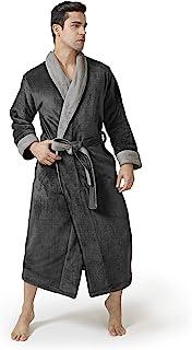 DAVID ARCHY Men's Coral Fleece Plush Robe Shawl Collar Heavyweight Full Length Long Big and Tall Warm Bathrobe