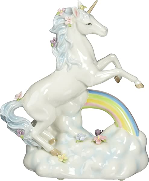 Cosmos Gifts 80118 Unicorn Over The Rainbow Ceramic Figurine 8 1 8 Inch