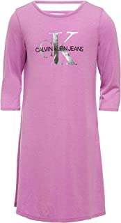 Calvin Klein Girls' Long Sleeve Solid Logo Dress