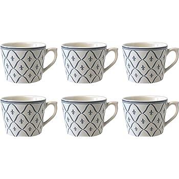 Bleu Depot dargonne Fleur de lys Motif 6/Tasses /à Cappuccino c/éramique 11/x 9/x 7/cm
