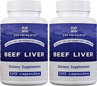 2 Pack (240 Capsules) Ultra-Pure Desiccated Beef Liver, Grass-Fed, Pasture-Raised Cows. No Hormones or GMO....