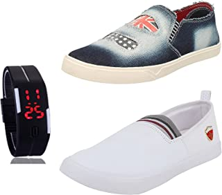Chevit Men's Combo Pack of 3 Loafers and Sneakers (Casual Shoes) with LED Watch Adjustable Band - Scratch-Less Display