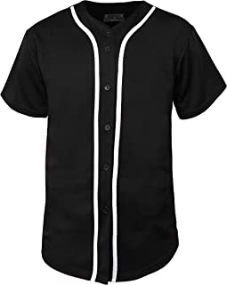 Hat and Beyond Mens Baseball Jersey Button Down T Shirts Hipster Plain Hip Hop 1UPA02