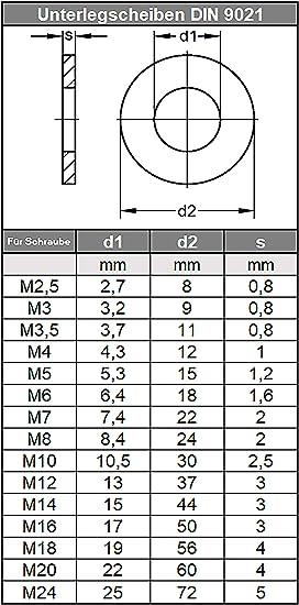 Arandelas de 30 mm para reparaci/ón de acero DIN 9021 mm arandela plana 50 unidades