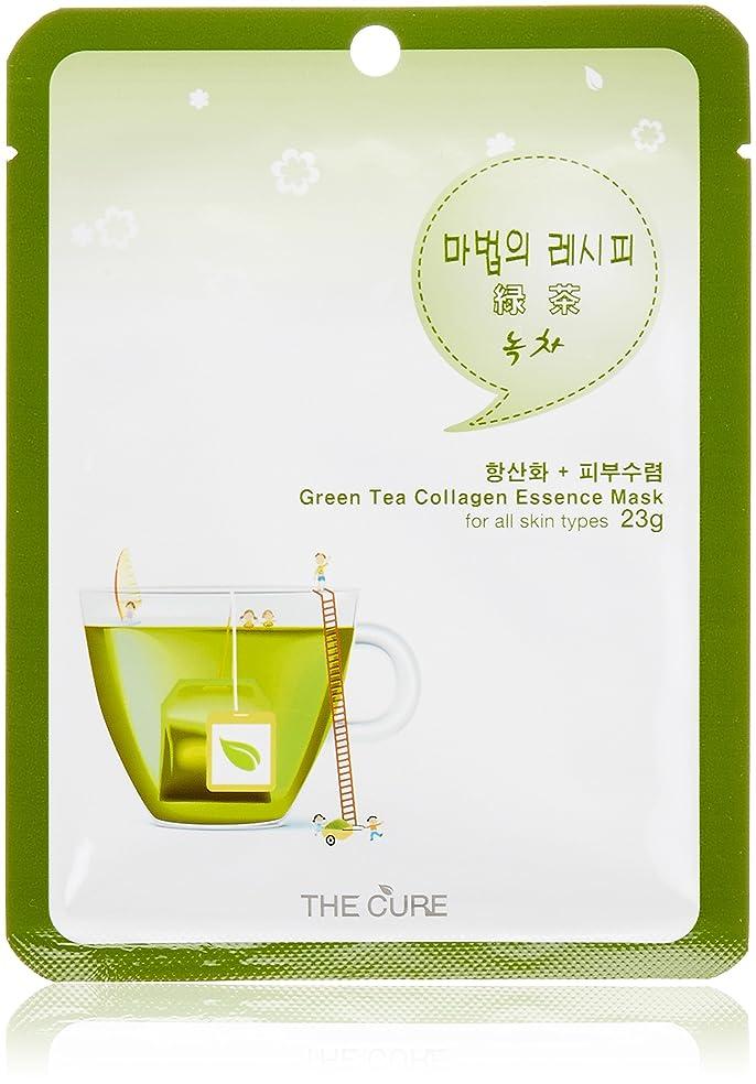 迷信ちょうつがい修正するTHE CURE緑茶 コラーゲンエッセンスマスク15枚セット