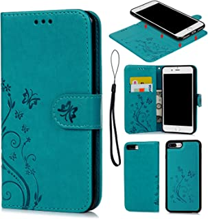iPhone 8 Plus Case, iPhone 7 Plus Wallet Case Embossed Butterfly PU Leather Flip Cover Detachable Magnetic Wallet with Card Slots Wrist Strap Skin for iPhone 7 Plus & iPhone 7 Plus Blue