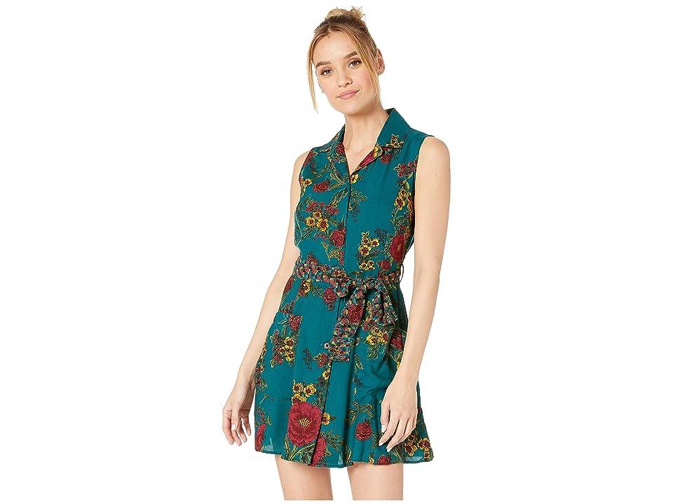 Angie Button Front Tie Waist Sleeveless Shirtdress w/ Pockets (Teal) Women