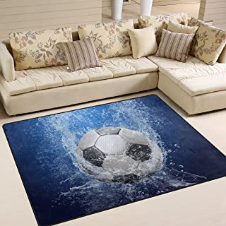 Naanle Sport Area Rug 5'x7', Soccer Ball with Water Drops Polyester Area Rug Mat for Living Dining Dorm Room Bedroom Home Decorative