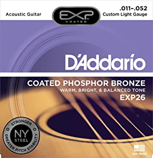 D'Addario EXP26 Coated Phosphor Bronze Acoustic Guitar Strings, Light, 11-52 – Offers a Warm, Bright and Well-Balanced Acoustic Tone and 4x Longer Life - With NY Steel for Strength and Pitch Stability