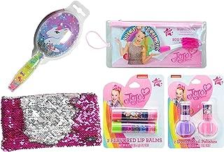 Sister Novelties JoJo Siwa Cosmetic and Grooming Bundle (5 Items in Bundle), JoJo Toothbrush, Nail Polish, Lip Balm, Confetti Hair Brush and Sequin Pencil Case, Gift Ideas for Girls (Unicorn Set)