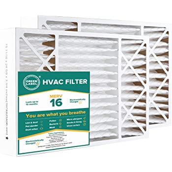 AC Furnace Air Ultra Cleaning Filter MERV 16 Green Label HVAC Air Filter 16x25x1 Pack of 2