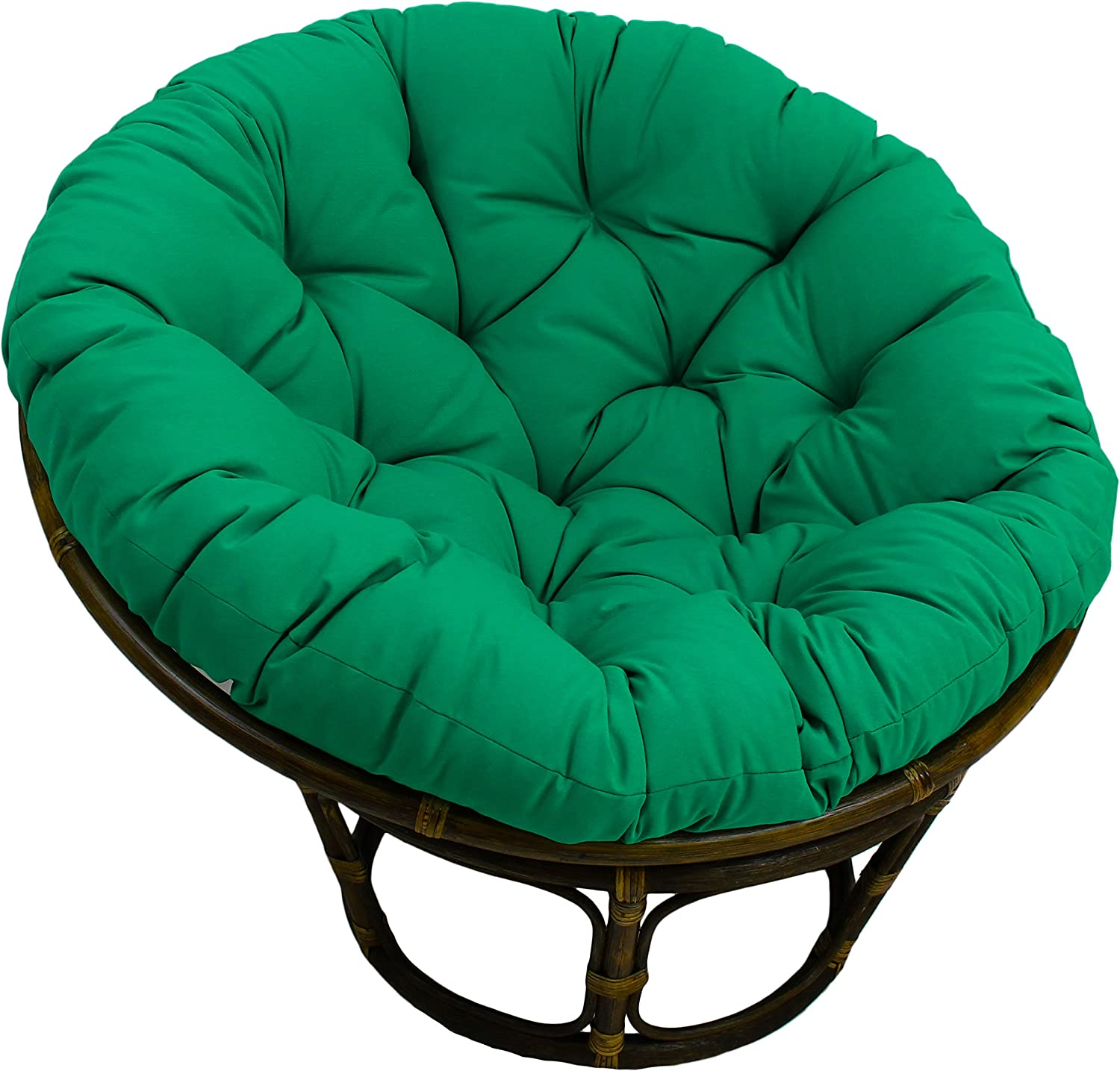 Blazing Needles Solid Twill Papasan Chair Cushion, 48  x 6  x 48 , Emerald