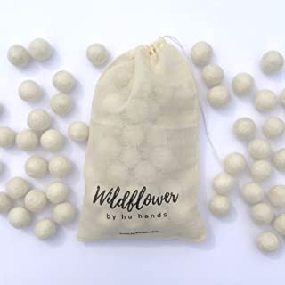 Wildflower by Hu Hands 100% Handmade Wool Felt Pom Poms - Natural White - (50) Pure New Zealand Wool Felt Balls - DIY Pompoms - 2cm - 0.8