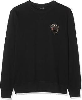 Mister Tee Men's Embroidered Panther Crewneck Sweatshirt