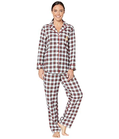 LAUREN Ralph Lauren Brushed Twill Long Sleeve Notch Collar Long Pants Pajama Set (Ivory Plaid) Women