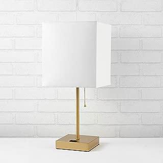 Urban Shop Fabric White Shade Metallic Base Lamp (Renewed)