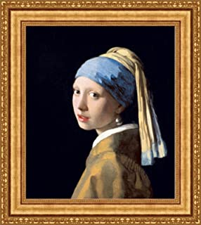 Johannes Vermeer Girl with a Pearl Earring Framed Canvas Giclee Print - Finished Size (W) 25.1'' x (H) 28.1'' [Gold] (V06-03K-MD535-01)