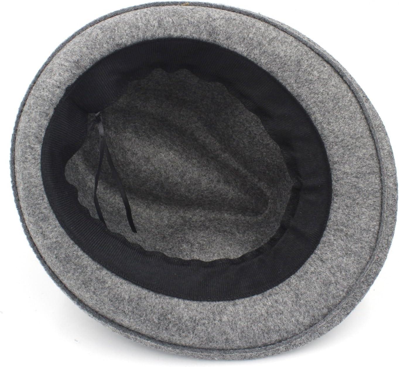 Women Temperament Hat Women Men Chapeau Femme Fedora Hat for Gentlemen and Ladies Fashion Woolen Fedora Hat (Color : Black, Size : 57-58cm)