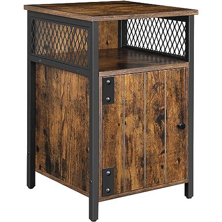 VASAGLE Table de Chevet, Table d'appoint, 40 x 40 x 60 cm, ace Compartiment Ouvert, Placard, pour Salon, Chambre, Marron Rustique et Noir LET068B01