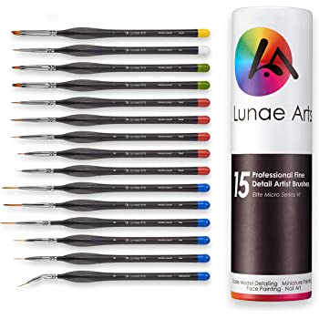 Lunae Arts Miniature Fine Detail 15pc Paint Brush Set Elite Micro Series VI – No Fatigue Triangle Handle, Color Coordinated Tips - Acrylic, Watercolor, Oil, Paint by Numbers Artist Brushes