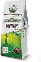 Peak Performance High Altitude Organic Coffee. No Pesticides, Fair Trade, Non GMO, And Beans Full Of Antioxidants! Medium Roast Low Acid Smooth Tasting USDA Certified Organic Whole Bean Coffee Bag