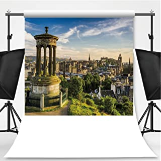 Cityscape Photography Backdrop,Edinburgh Town Aerial View of Historical Buildings Heritage Panorama Art for Television,Flannelette:5x7ft