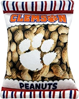 NCAA Clemson Tigers Crinkle FINE Plush Dog & CAT Squeak Toy - Cutest Stadium Peanuts Snack Plush Toy for Dogs & Cats with ...
