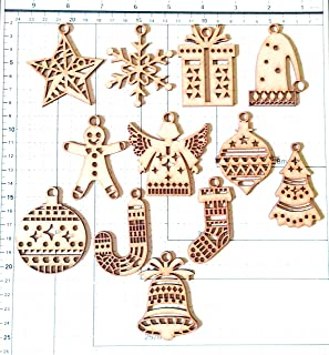 SIDDHANT Arts 023(002) 12 Pieces Christmas Wooden Pendants.Ornaments Kids Gift DIY Xmas Tree Ornament Christmas Party Deco...