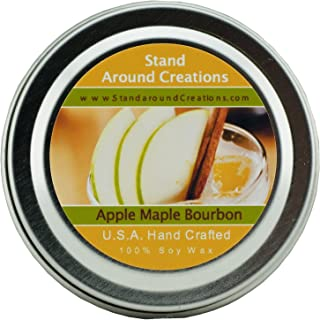 Premium 100% All Natural Soy Wax Aromatherapy Candle - 2 oz Tin Apple Maple Bourbon: A fall favorite that is a twist on the traditional apple fragrance. We start with fresh apples and blend in a touch of vanilla, maple, and a punch of smooth bourbon.