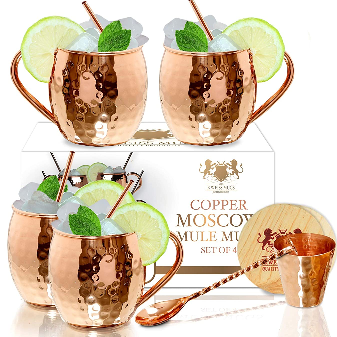 Moscow Mule Copper mugs Set Of 4 By B.WEISS Handmade Hammered Copper Cups 100% Pure Copper +Bonus: 4 copper straws 4 coasters 1 shot mug 1 spoon