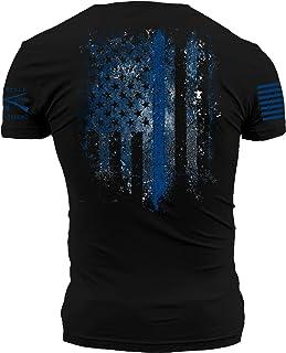Grunt Style Blue Shield - Men's T-Shirt Black