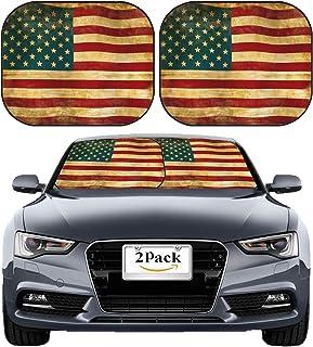 MSD Car Sun Shade Windshield Sunshade Universal Fit 2 Pack, Block Sun Glare, UV and Heat, Protect Car Interior, Image ID: 5110746 Old American Flag