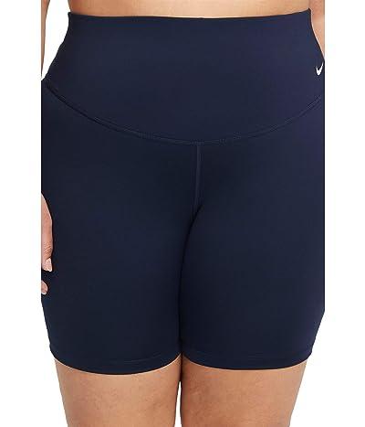 Nike One Mid-Rise 7 Shorts 2.0 (Sizes 1X-3X) (Obsidian/White) Women