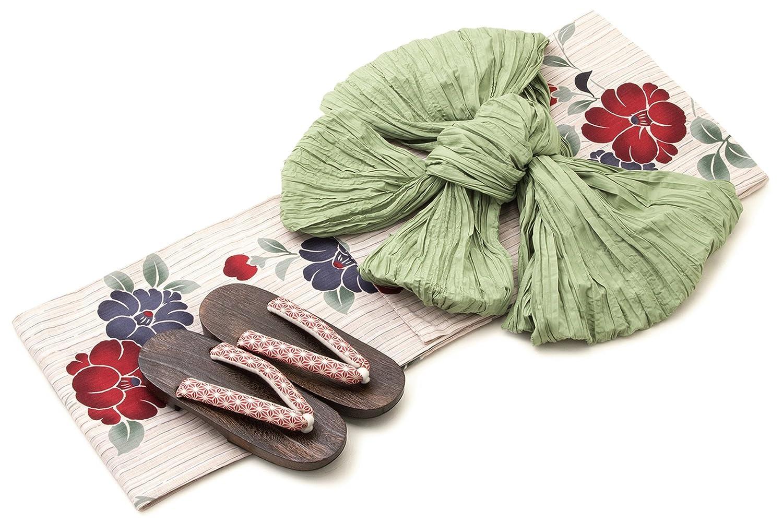 (ソウビエン) 浴衣 レディース 3点セット レトロ bonheur saisons ボヌールセゾン ベージュ 紺色 赤 薄緑色 椿 花 縞 綿麻 女性 フリーサイズ