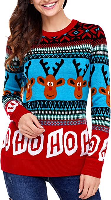 Dearlovers Womens Long Sleeve Reindeer Christmas Sweater Pullovers