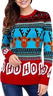 Dearlovers Womens Long Sleeve Reindeer Christmas Sweater Pullovers