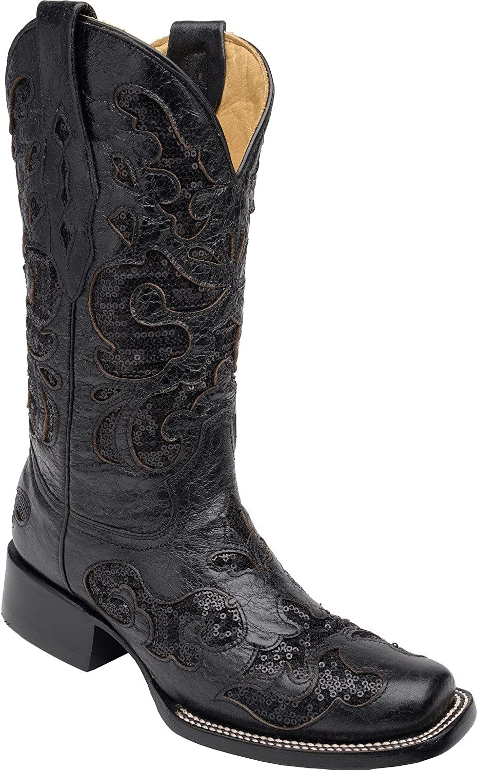 CORRAL Women's Sequin Inlay Cowgirl Boot Square Toe Black