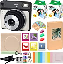 Fujifilm Instax Square SQ6 - Instant Camera Pearl White with Carrying Case + Fuji Instax Film Value Pack (40 Sheets) Accessories Bundle, Color Filters, Photo Album, Assorted Frames + More